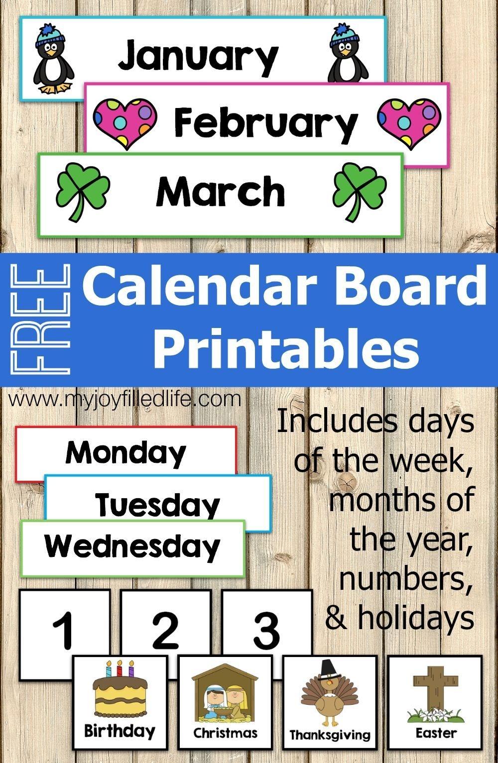 Free Calendar Board Printables My Joy Filled Life
