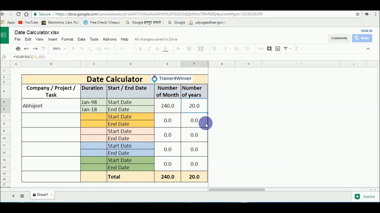 free date calculator on google sheets / excel sheet