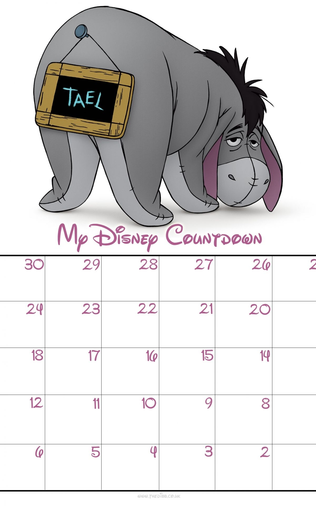 free download free 30 day disney countdown calendar