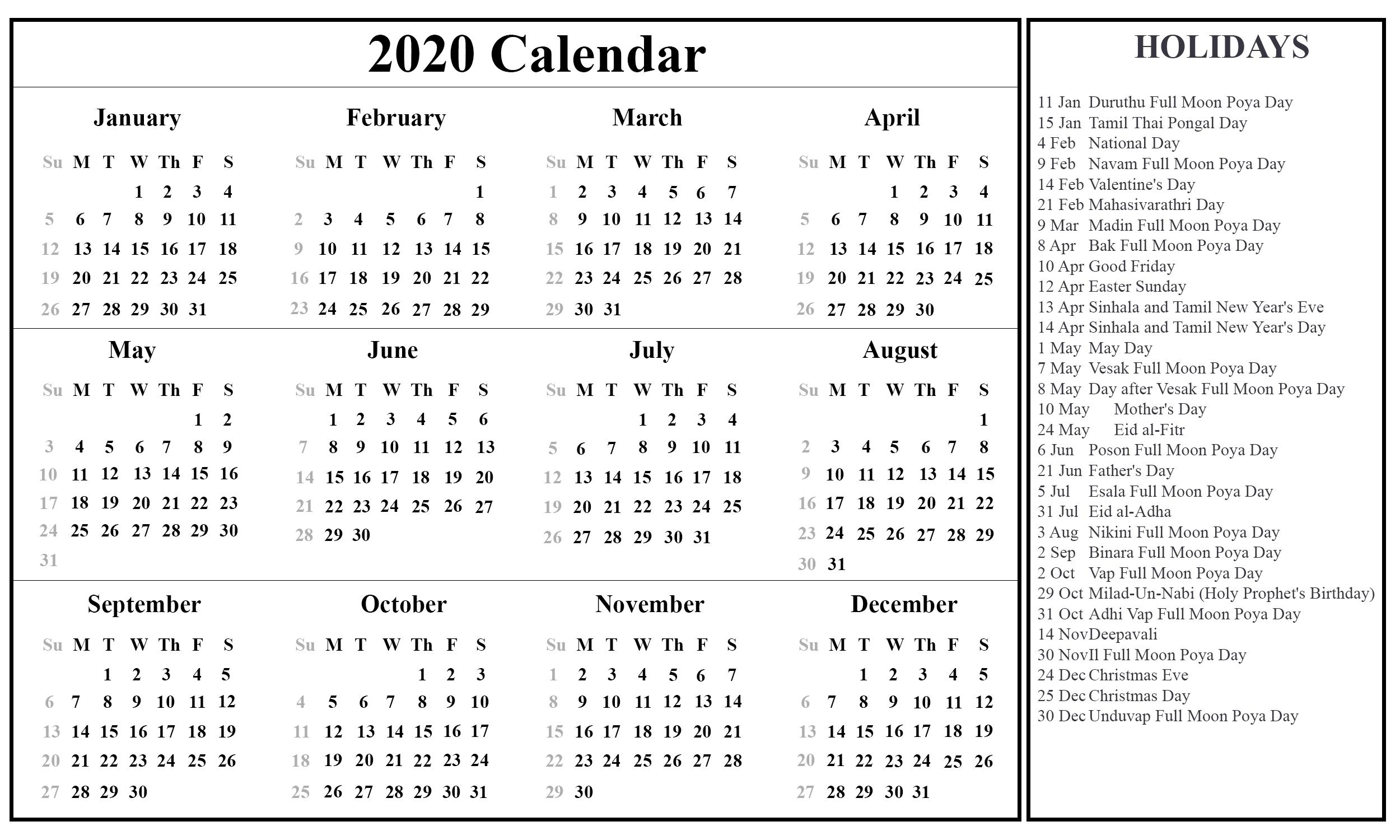 free download sri lanka calendar 2020 {pdf, excel & word