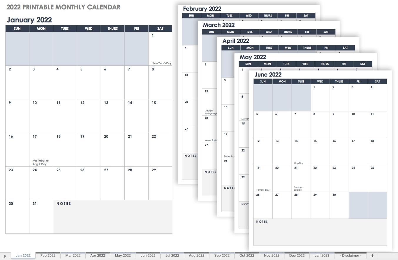 Free Excel Calendar Templates