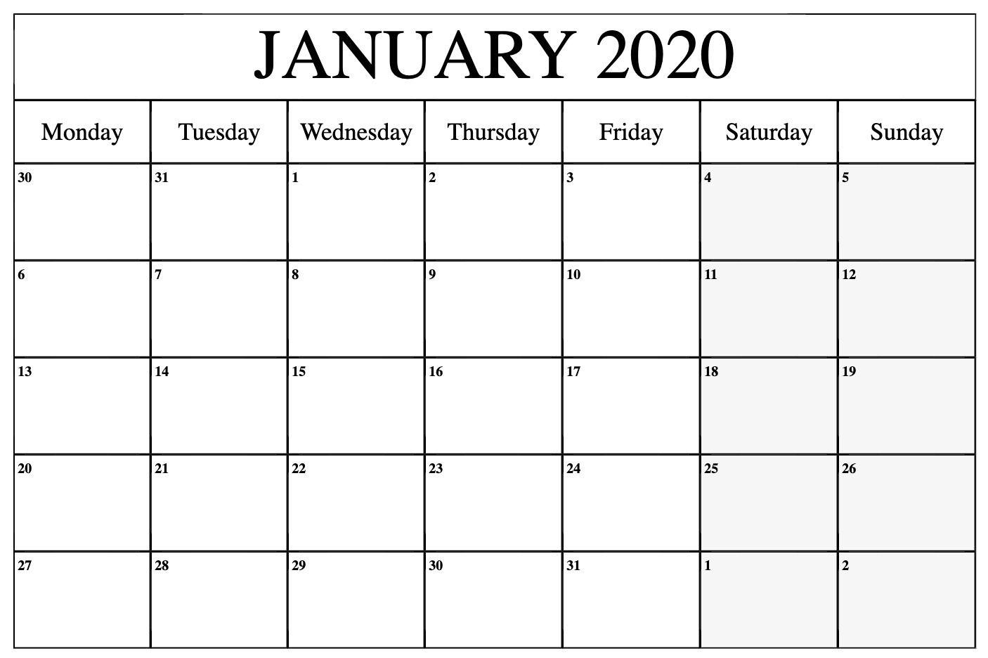 free january 2020 calendar printable template pdf, word, excel