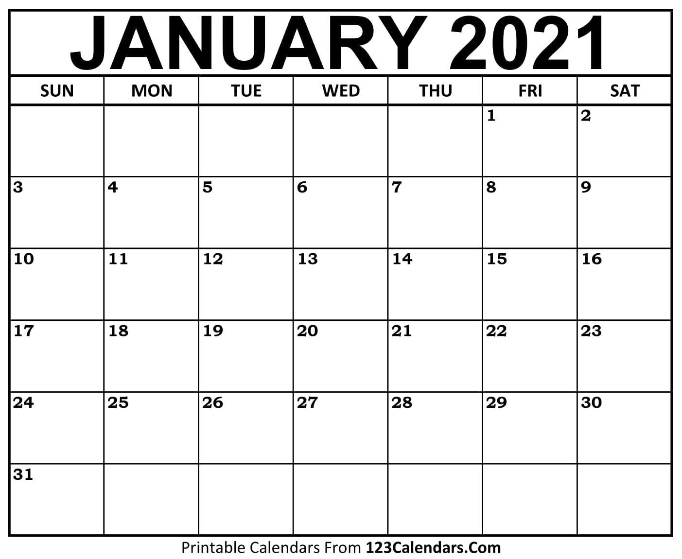free january 2021 calendar | 123calendars
