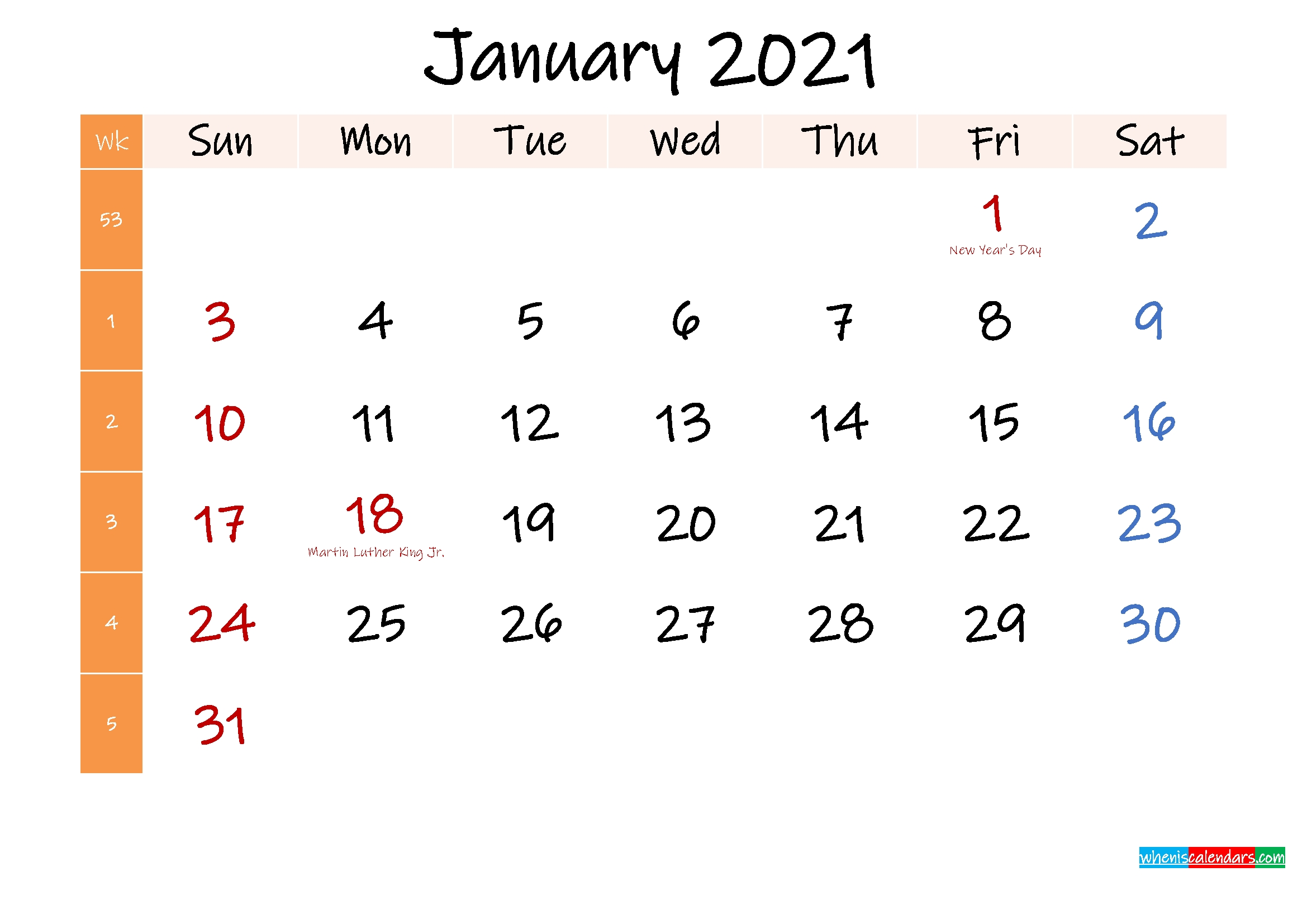free january 2021 monthly calendar template word – template