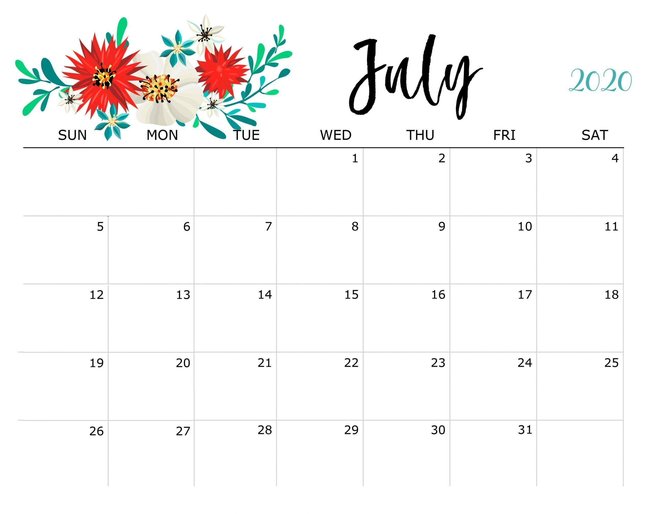 Free July 2020 Calendar In 2020 | July Calendar, Print Out