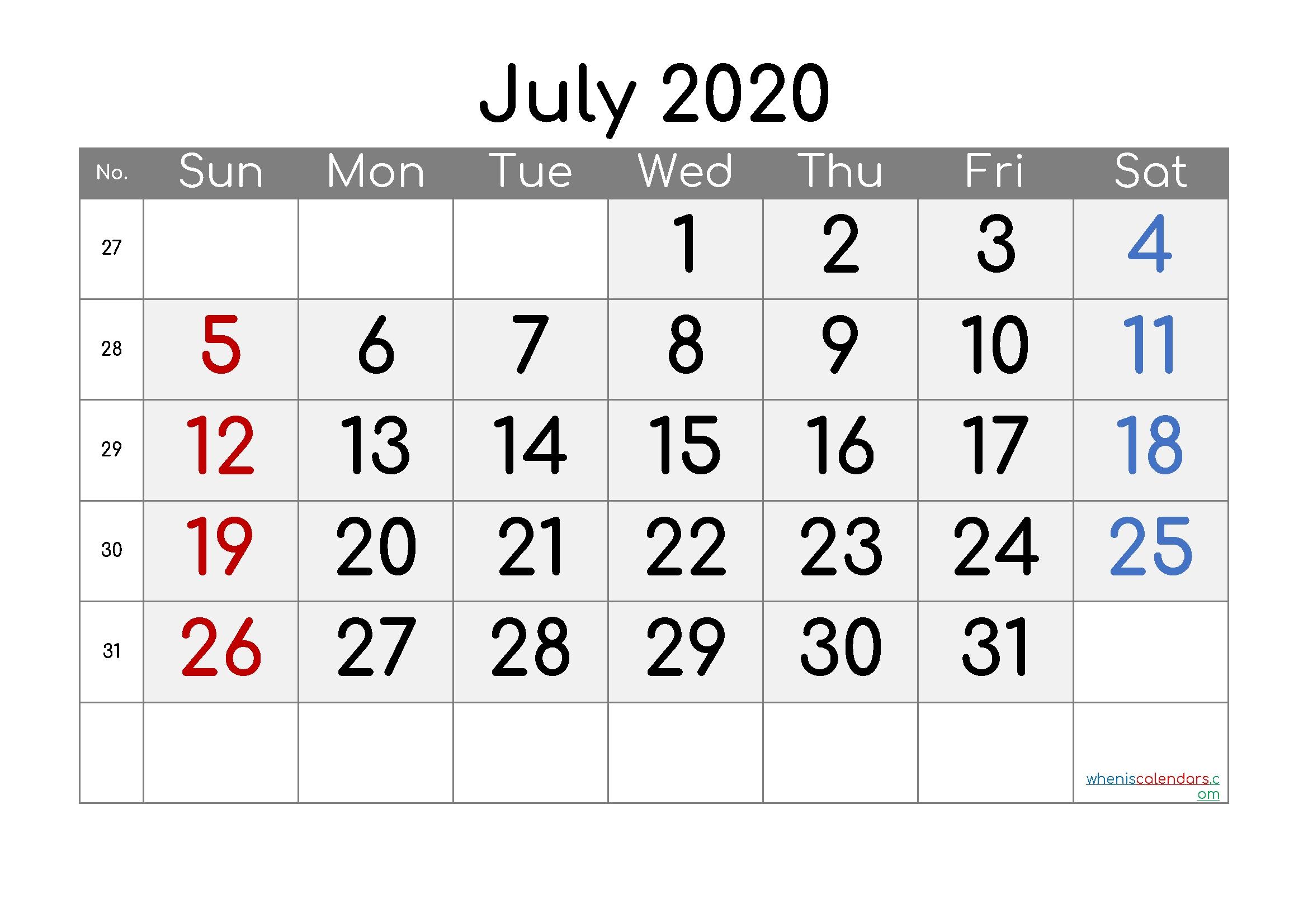free july 2020 calendar with week numbers – free printable
