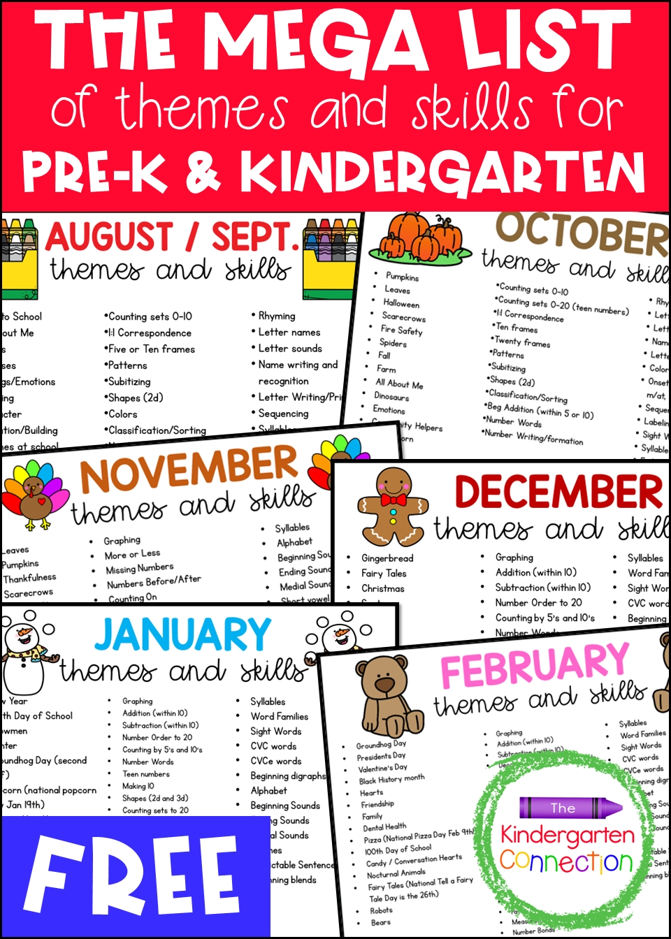 free mega list of themes and skills for pre k and