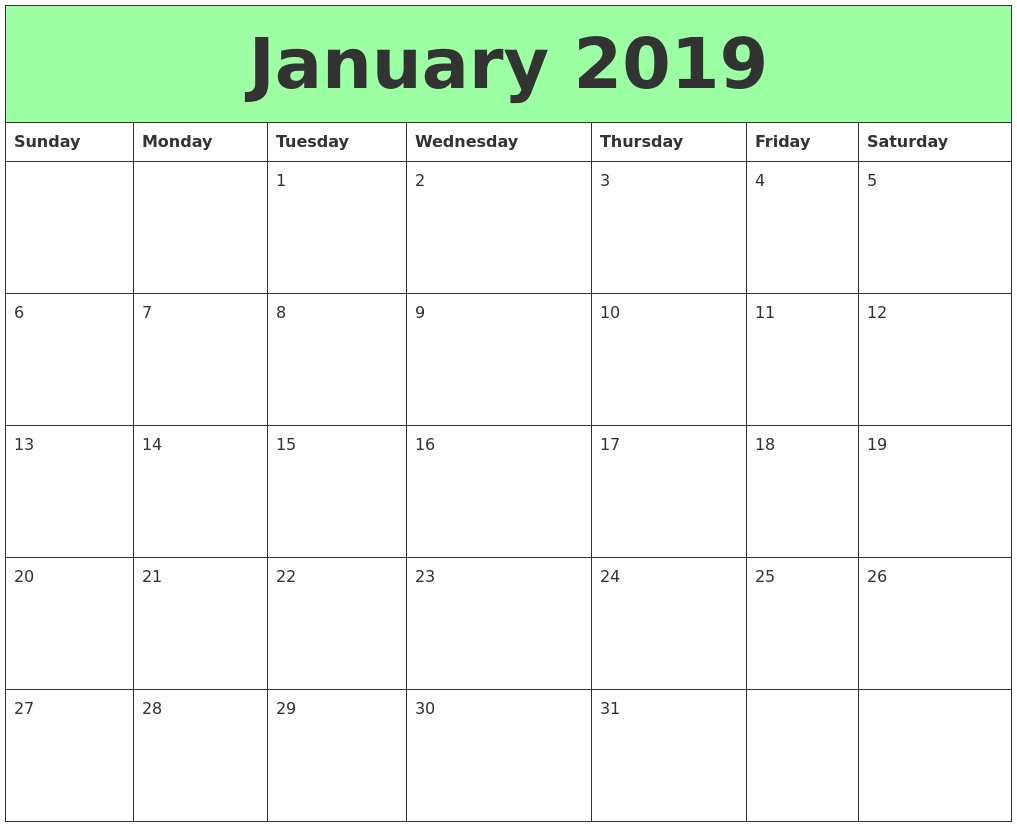 Free} Monthly Calendar 2019 Jan Editable 11*17 A4 Portrait