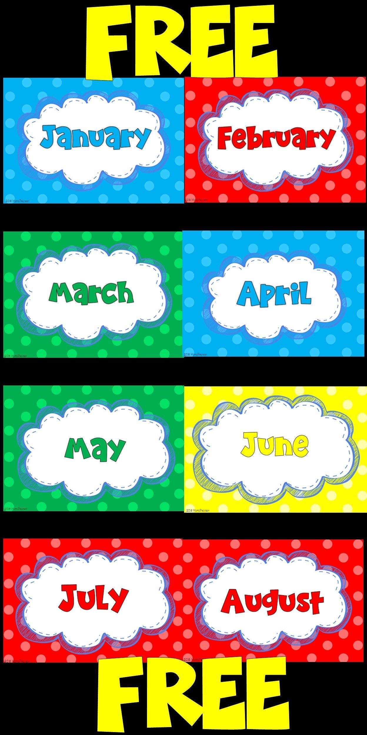 free months of the year labels | months in a year, classroom