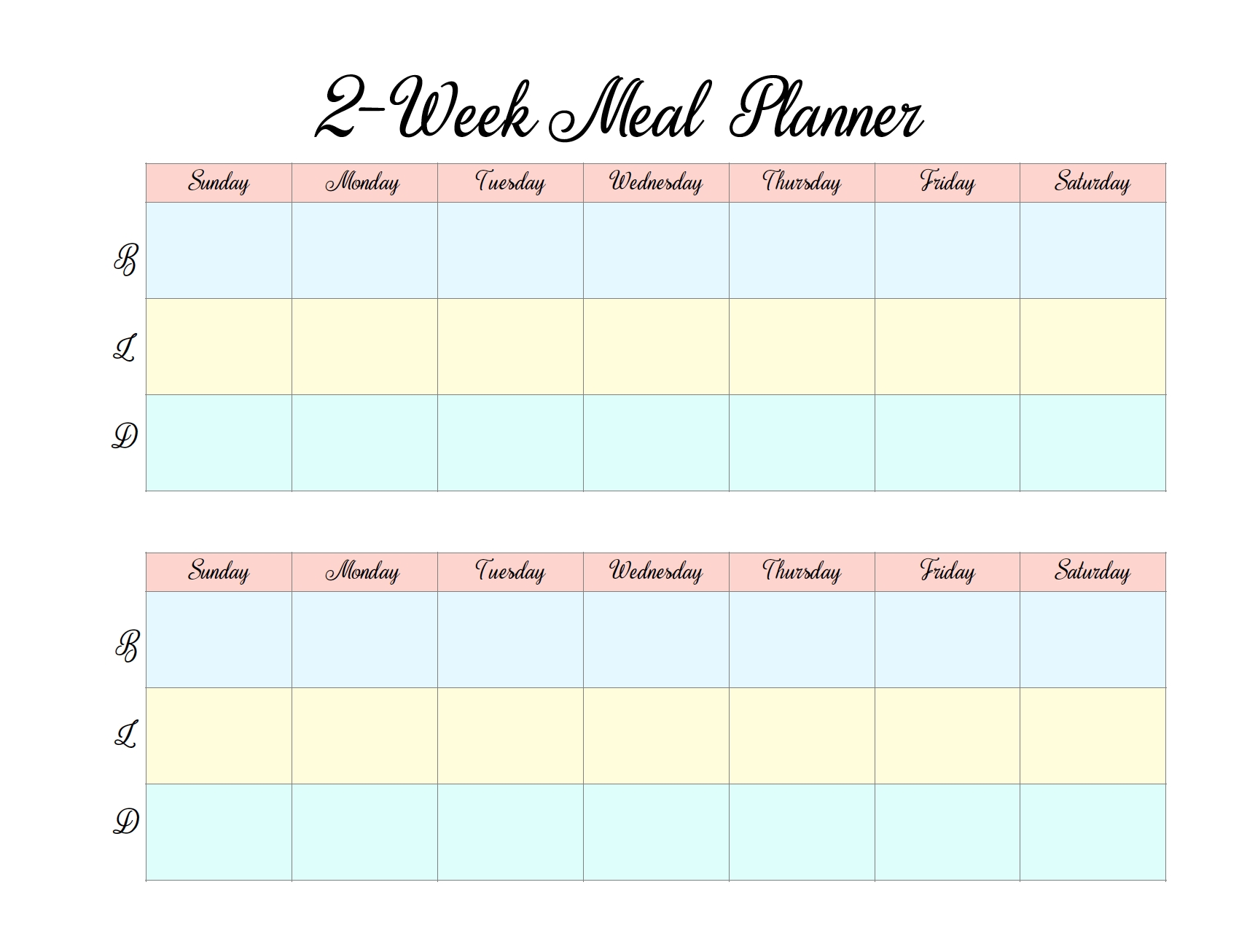 Free Printable 2 Week Meal Planners: 4 Designs