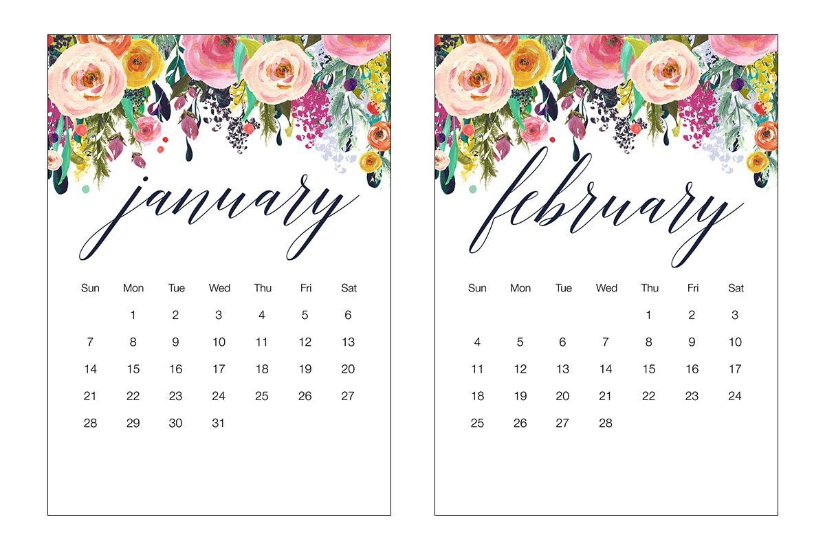 Free Printable 2018 Floral 5×7 Calendar The Cottage Market