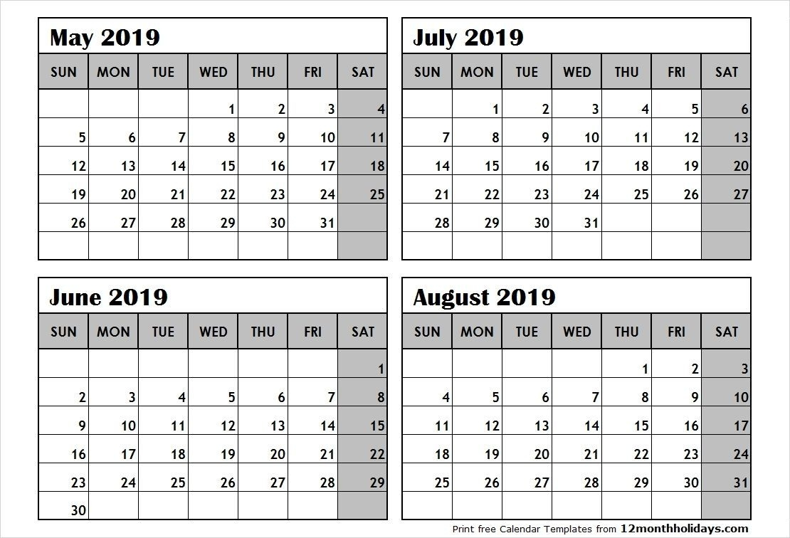 Free Printable 2019 4 Months Per Page Calendar Download
