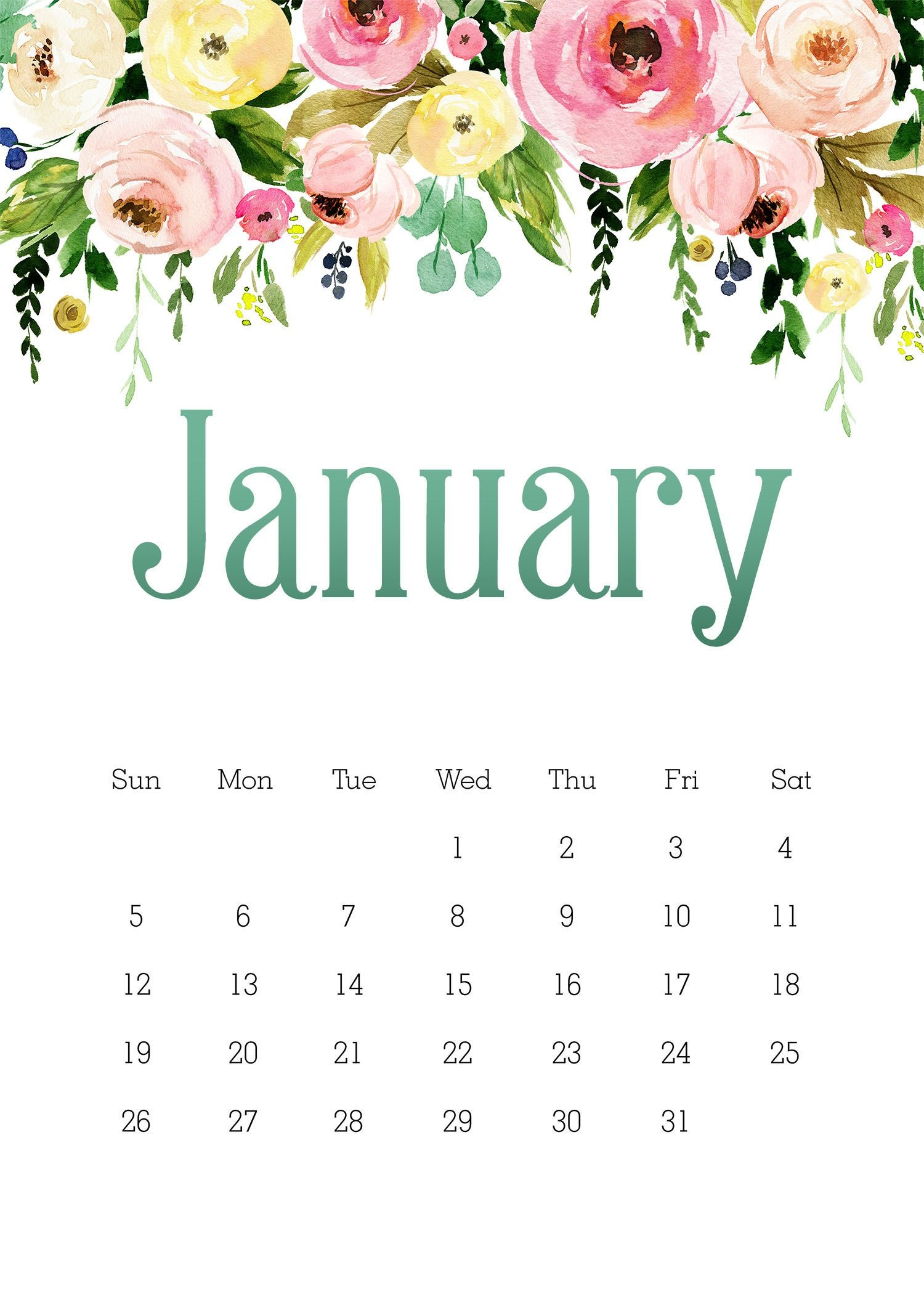 Free Printable 2020 5×7 Pretty Floral Calendar /// With