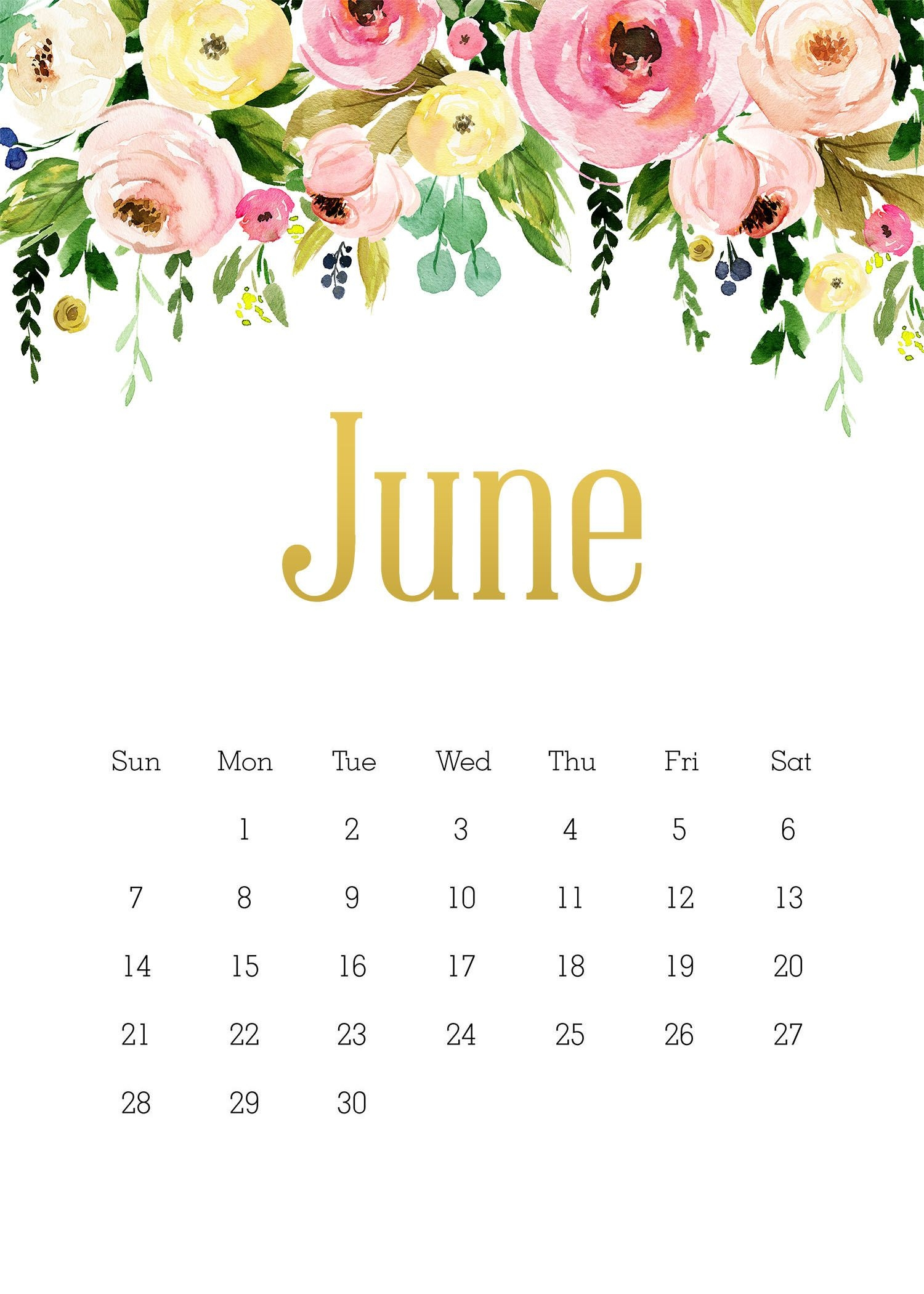 free printable 2020 5x7 pretty floral calendar /// with