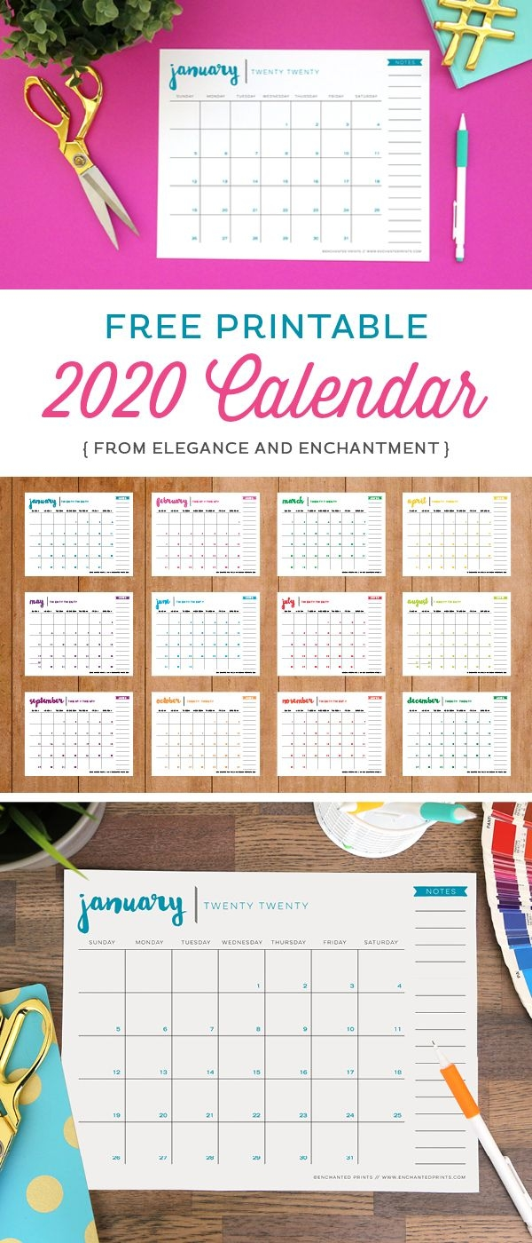 Free Printable 2020 Calendar Elegance & Enchantment