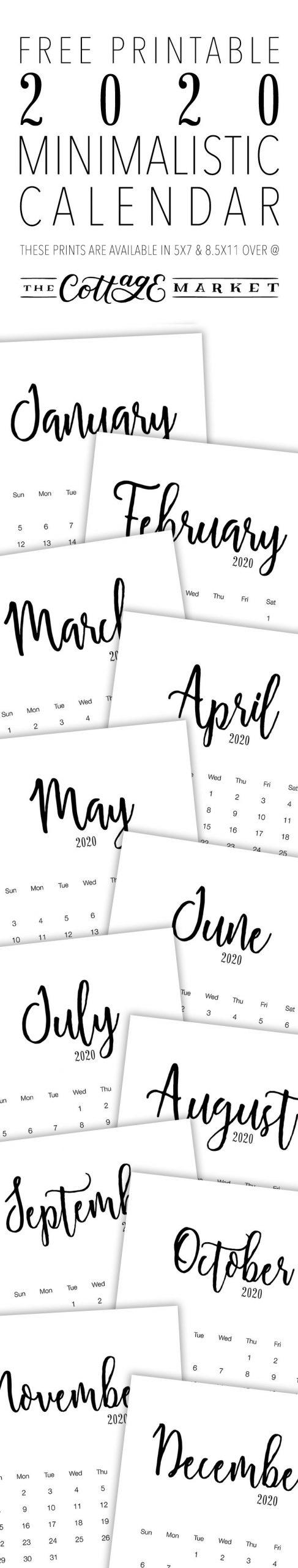 Free Printable 2020 Minimalist Calendar The Cottage Market