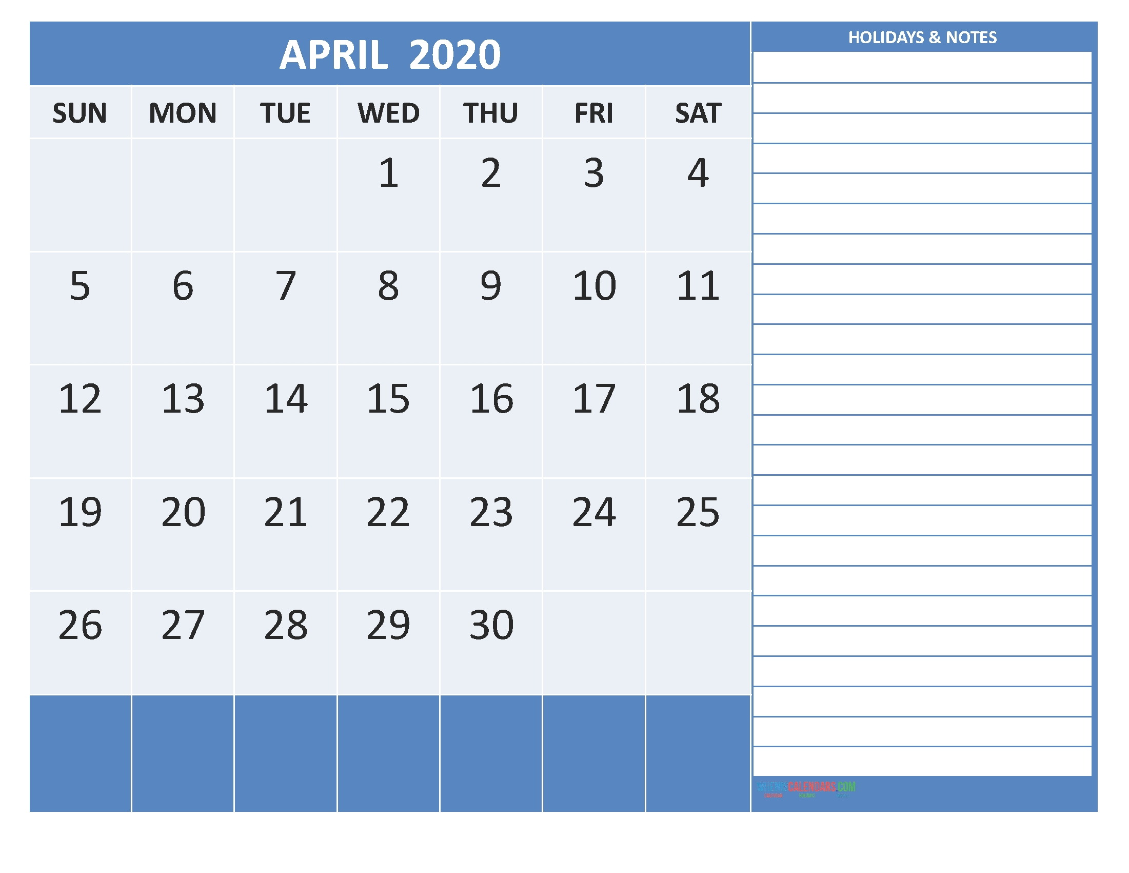 Free Printable 2020 Monthly Calendar With Holidays April