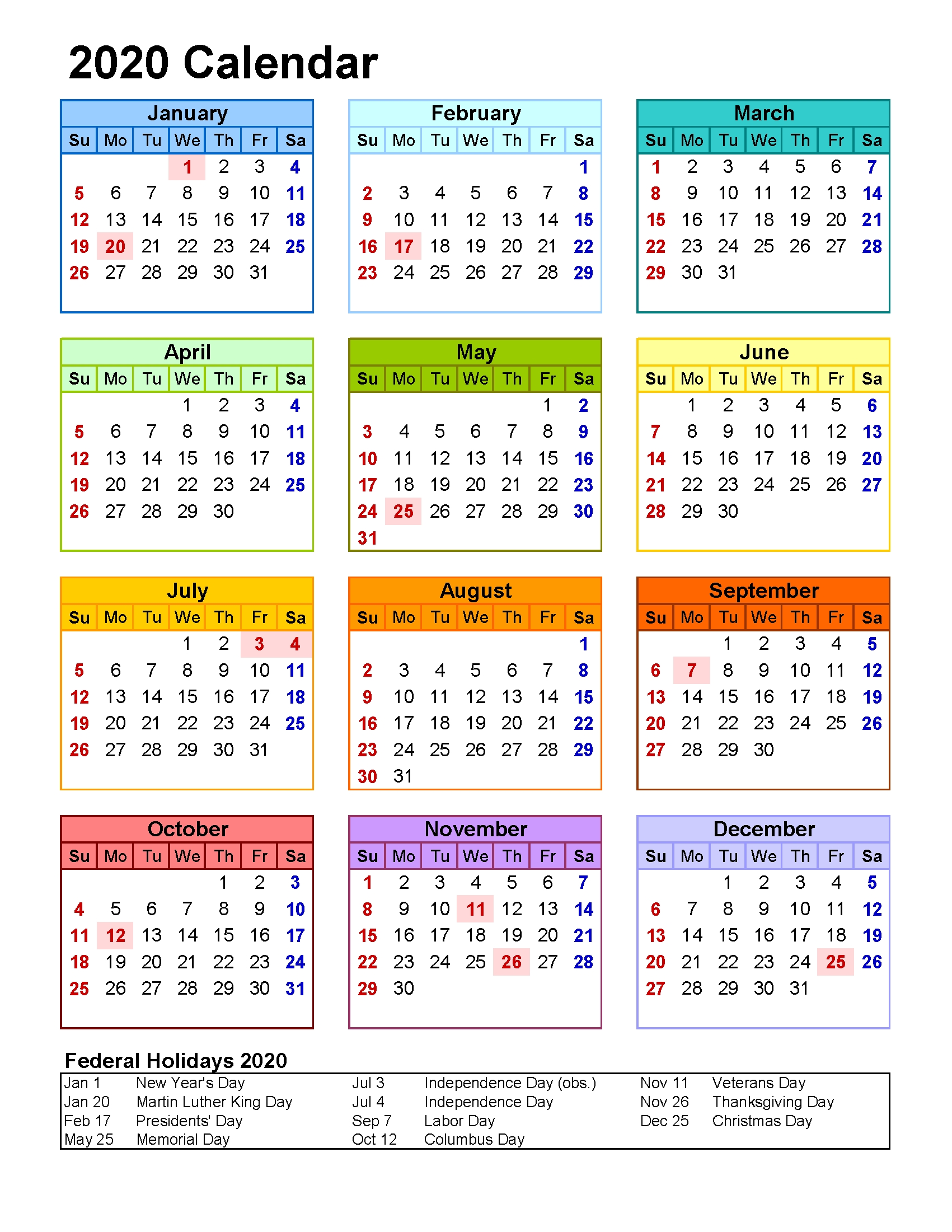 free printable 2020 yearly calendar with holidays at glance
