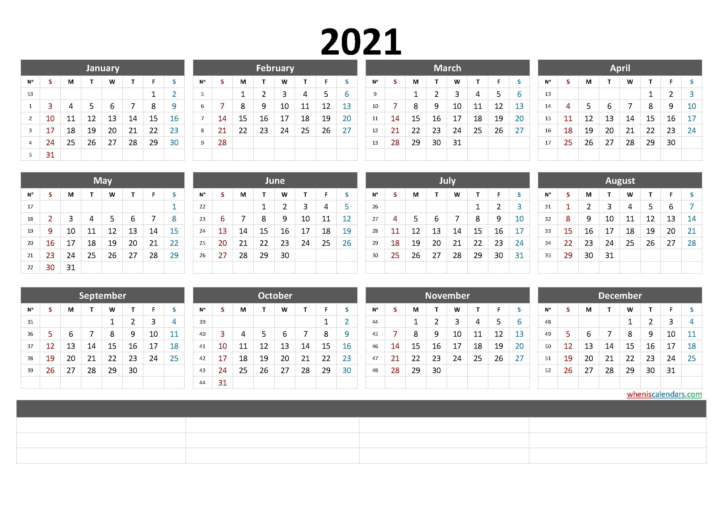 free printable 2021 calendarmonth (6 templates) – free