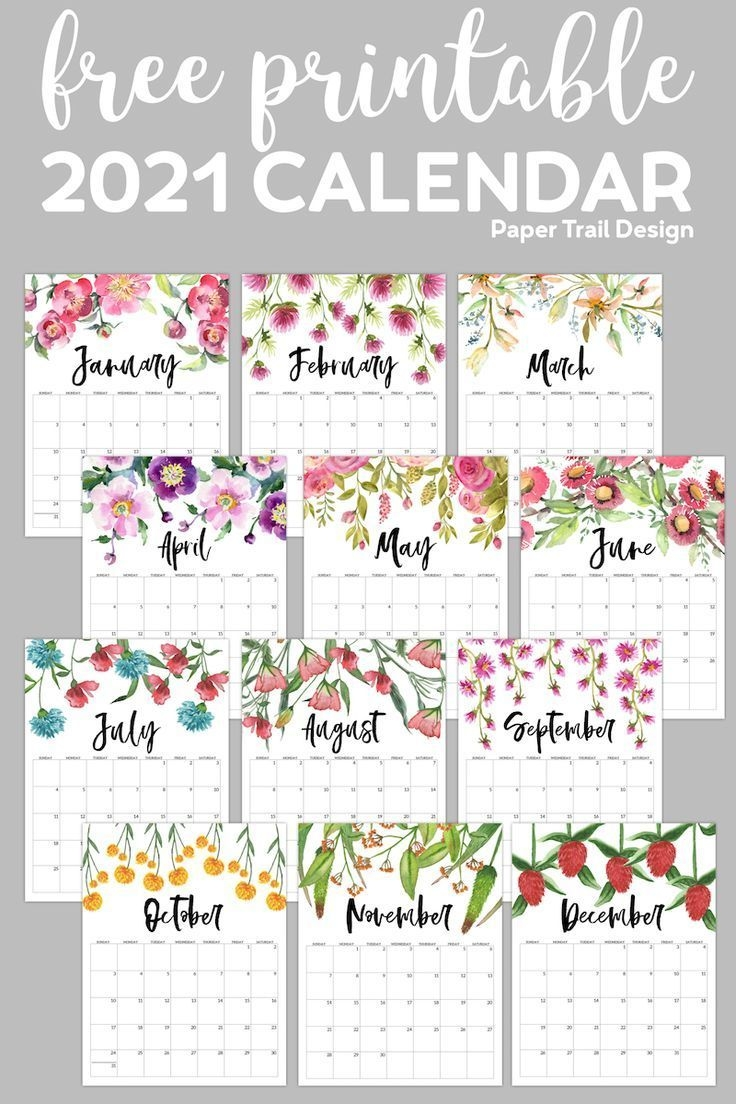 Free Printable 2021 Floral Calendar | Paper Trail Design In
