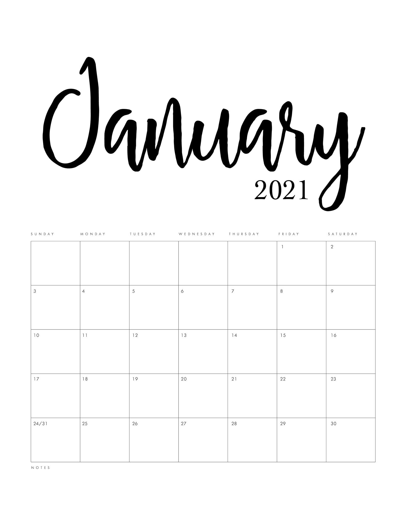 Free Printable 2021 Minimalist Calendar The Cottage Market