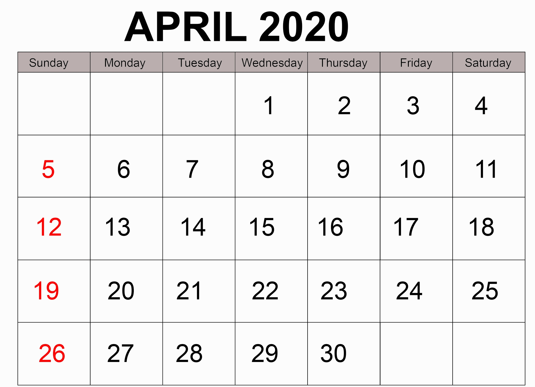 free printable april 2020 calendar page template digital