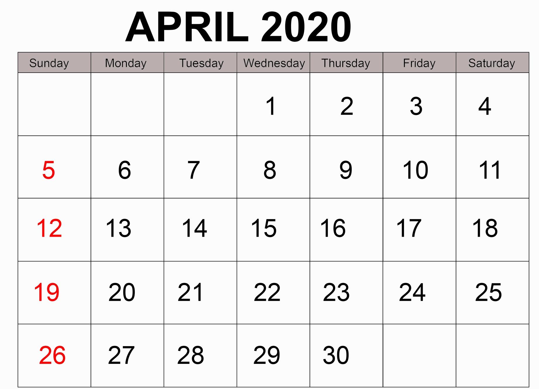 Free Printable April 2020 Calendar Page Template Digital