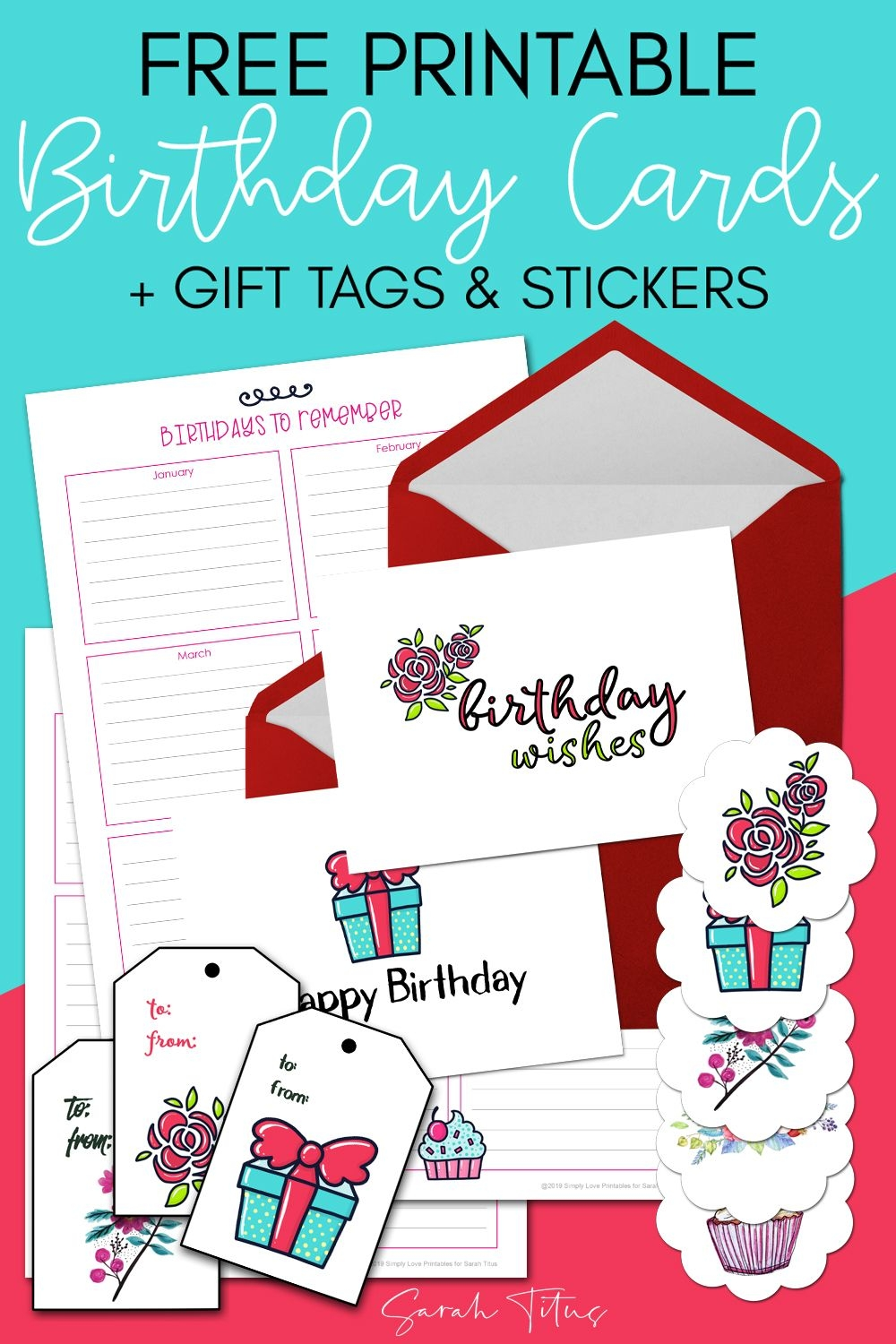 free printable birthday cards gift tags & stickers sarah