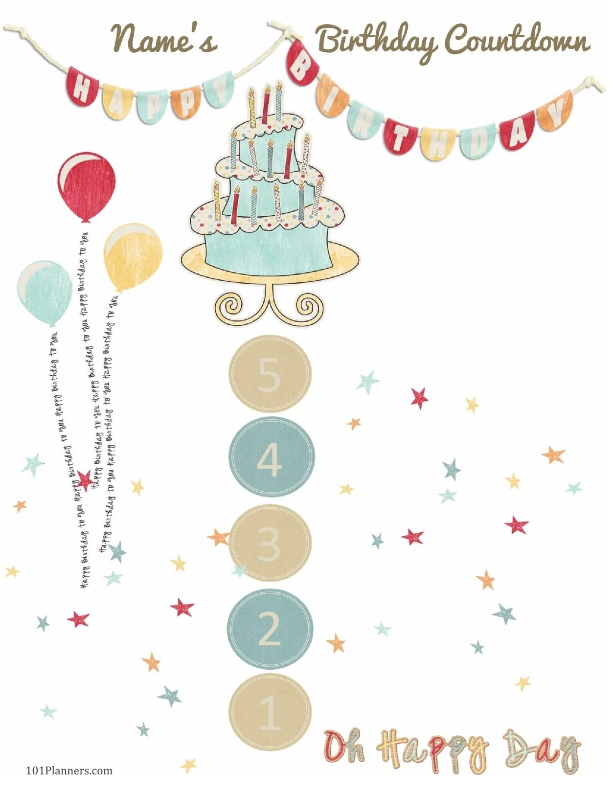free printable birthday countdown | customize online