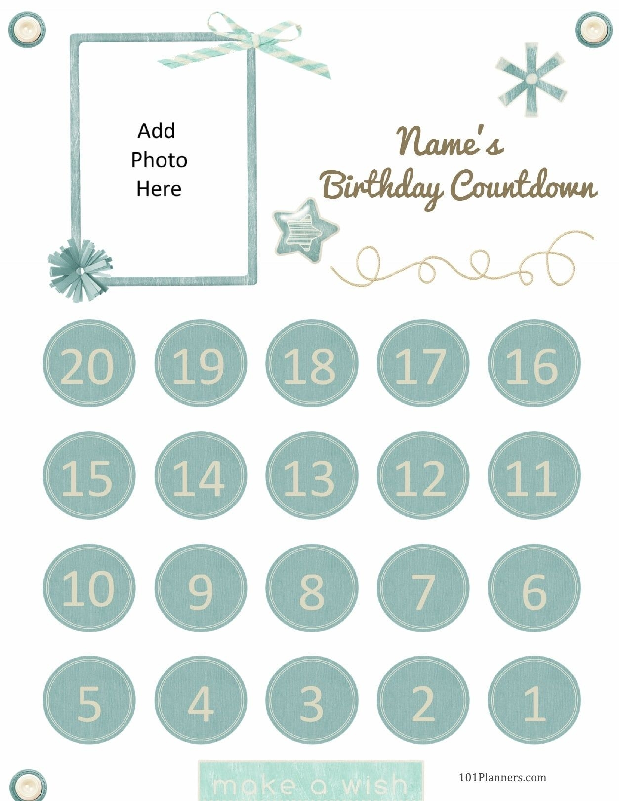 Free Printable Birthday Countdown | Customize Online