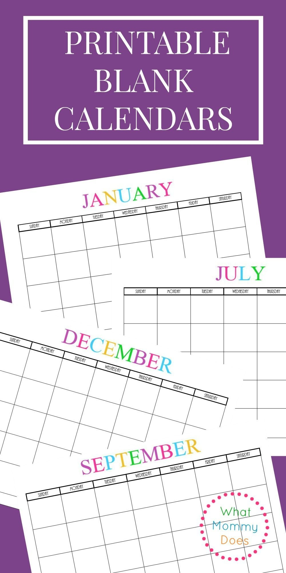 Free Printable Blank Monthly Calendars – 2020, 2021, 2022
