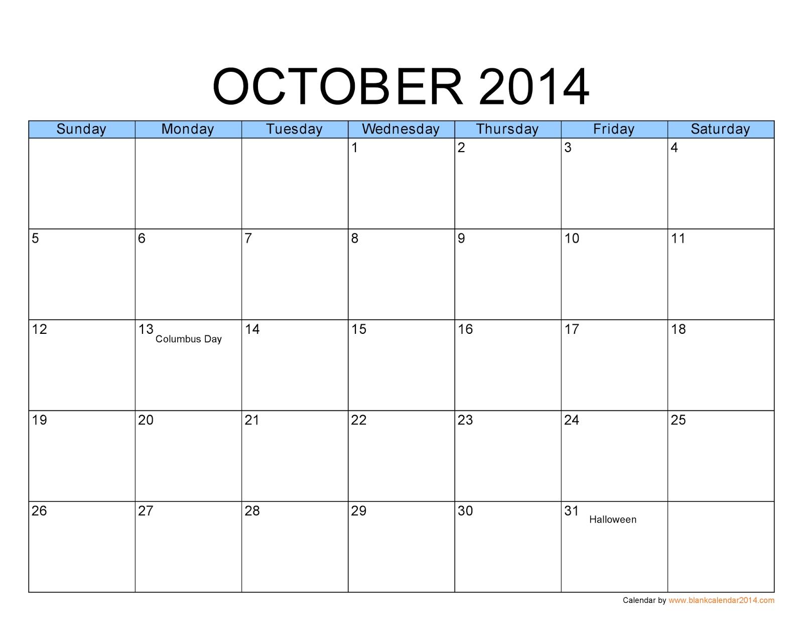 free printable calendar 2014: october 2014 calendar