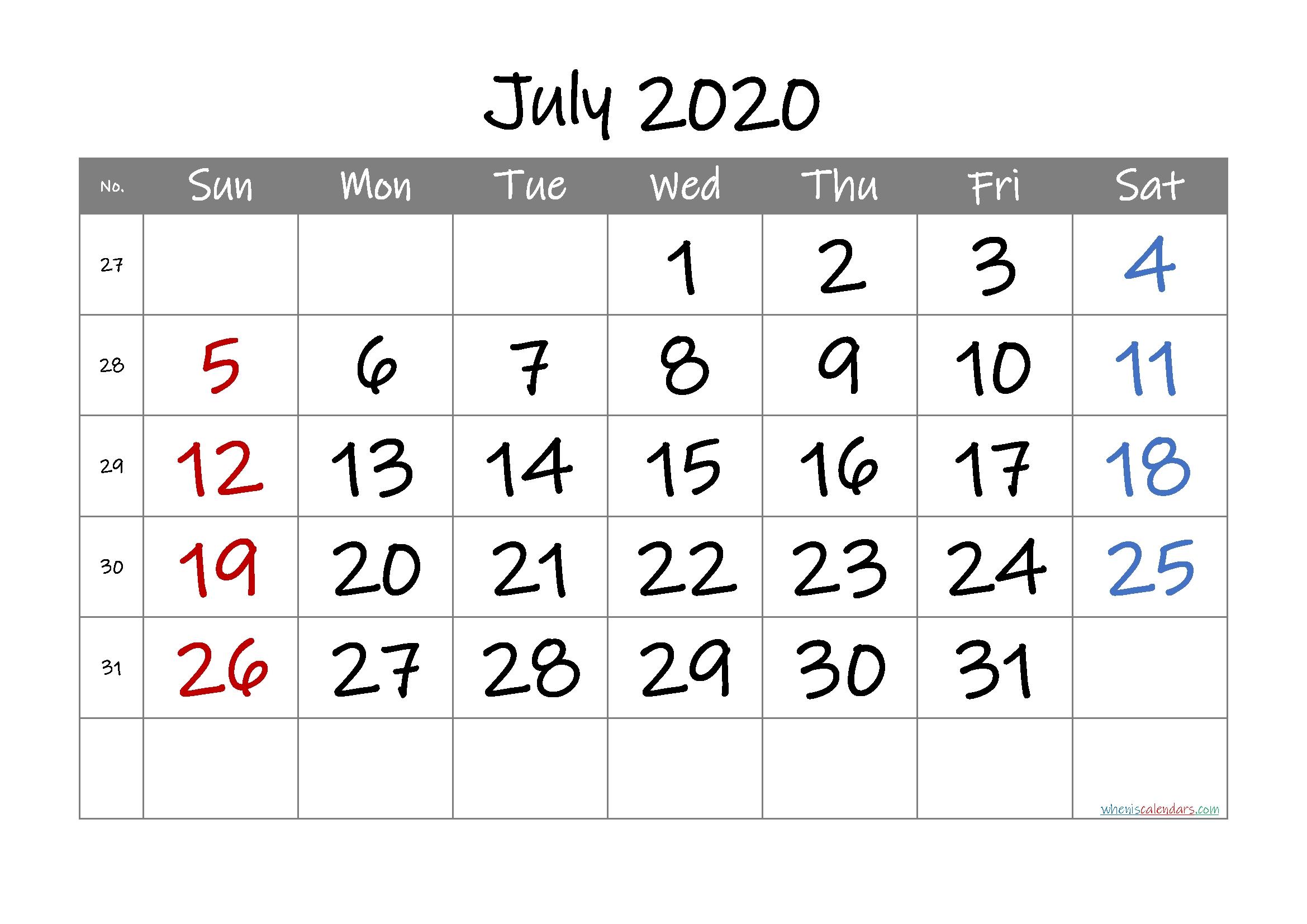 Free Printable Calendar 2020 July – Free Printable 2020