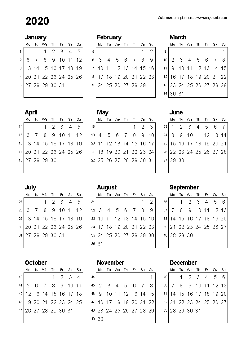 free printable calendars and planners for 2020 and past years