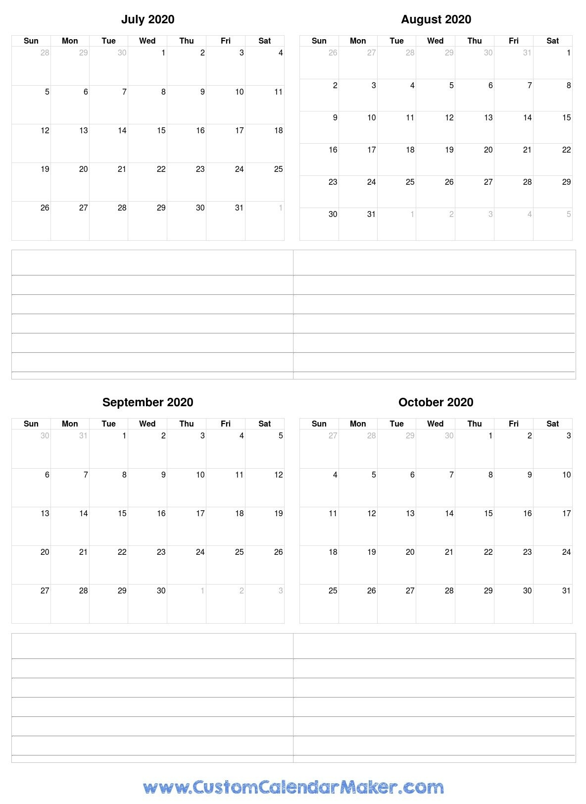 Free Printable Calendars, Blank Pdf Templates To Print A