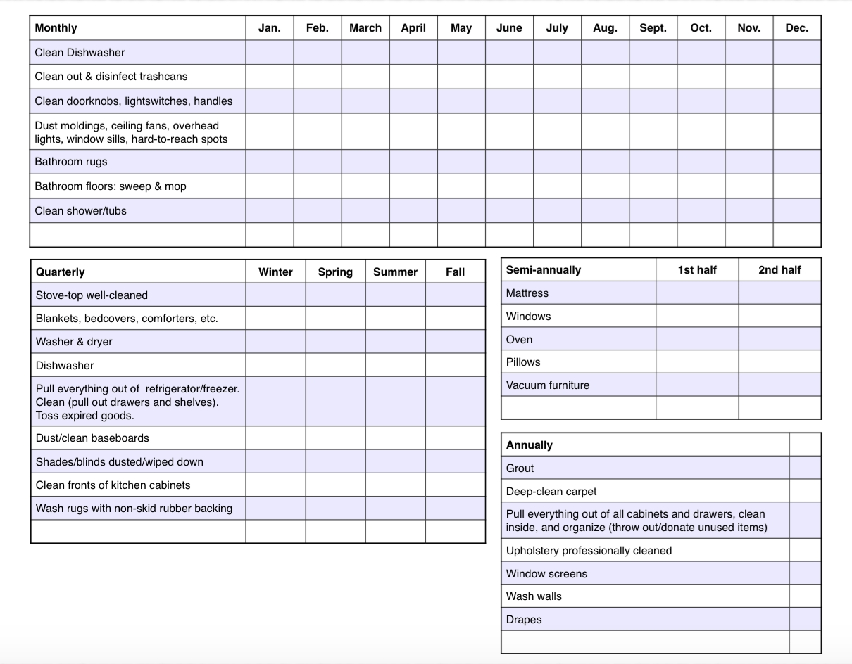 free printable: cleaning calendar and checklist the