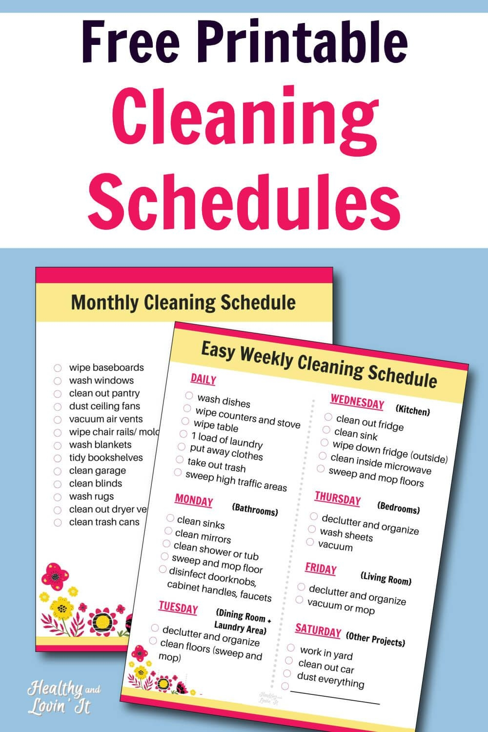 Free Printable Cleaning Schedule Daily, Weekly, And