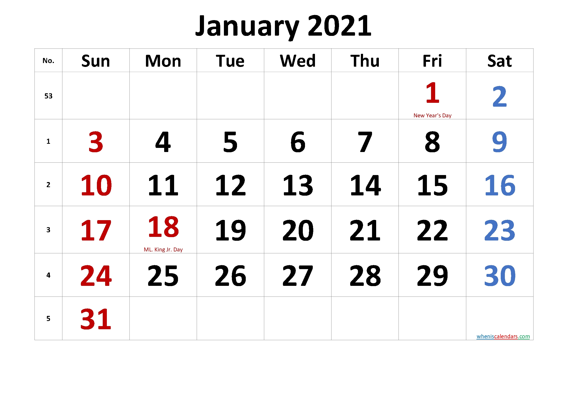 Free Printable Coloring Calendar 2021 January Template No