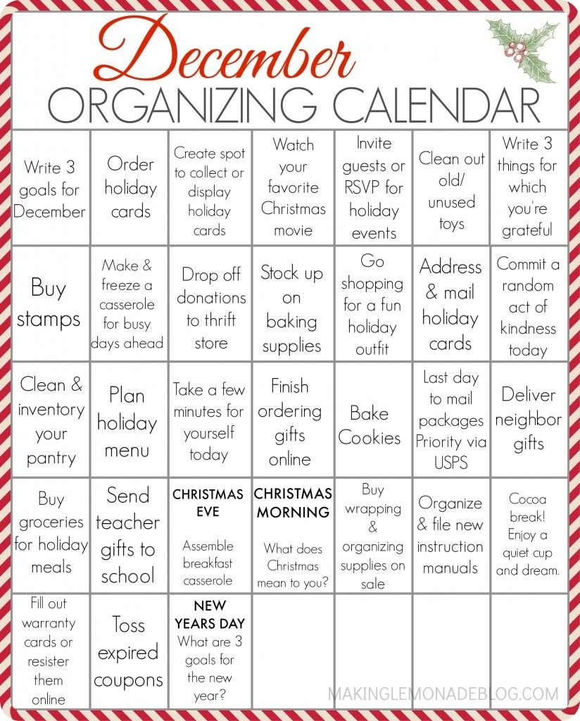Free Printable December Organizing Calendar | Making Lemonade