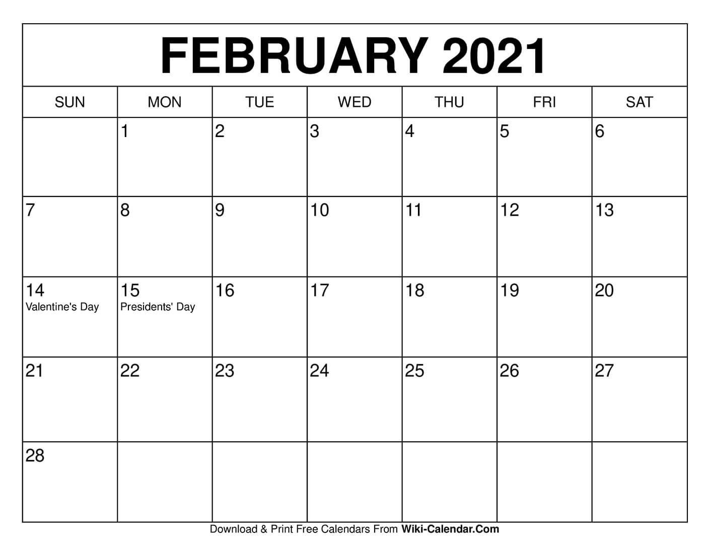 free printable february 2020 calendars