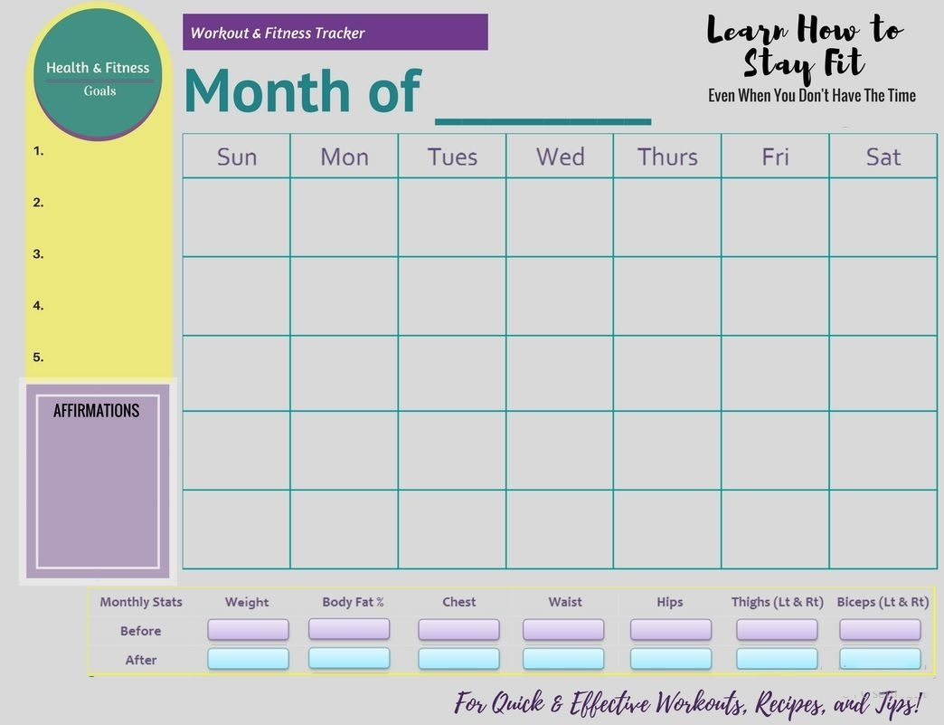 free printable fitness monthly tracker | fitness tracker