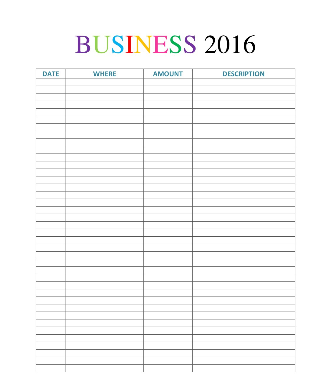 free printable for planner and binder: business expense log