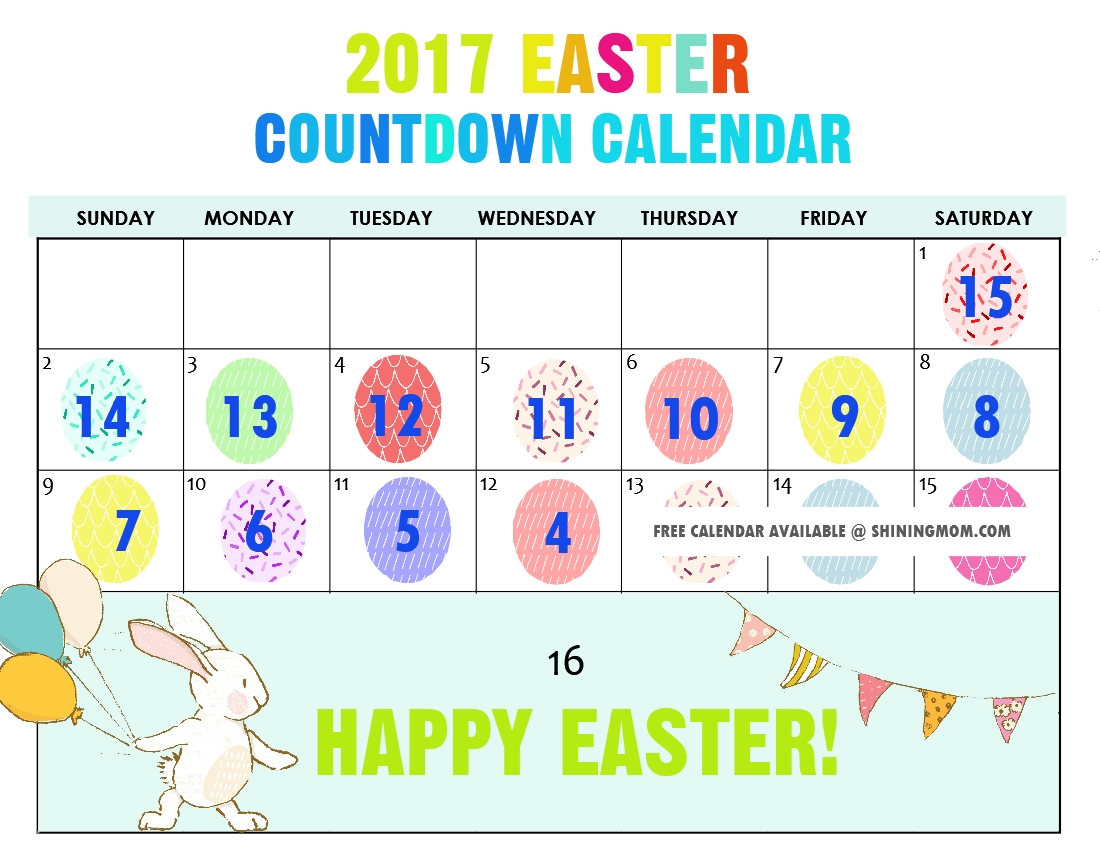 Free Printable: Fun Easter Countdown Calendar 2017