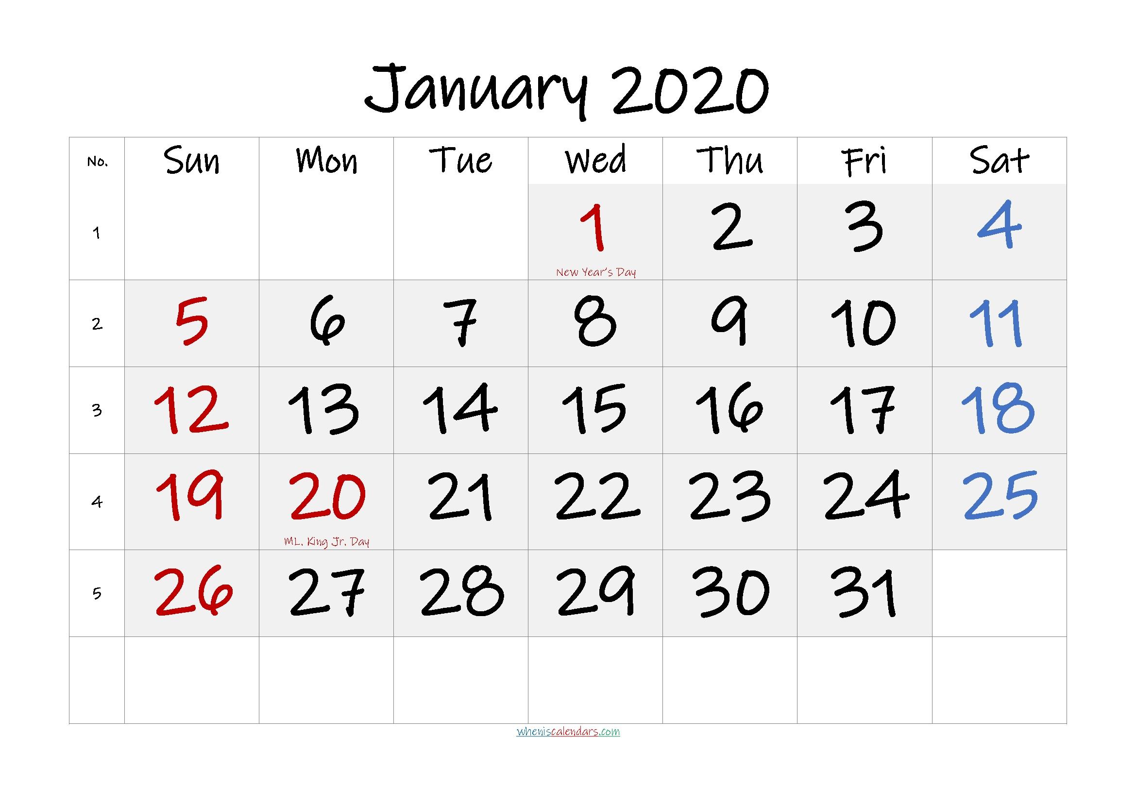free printable january 2020 calendar pdf template no