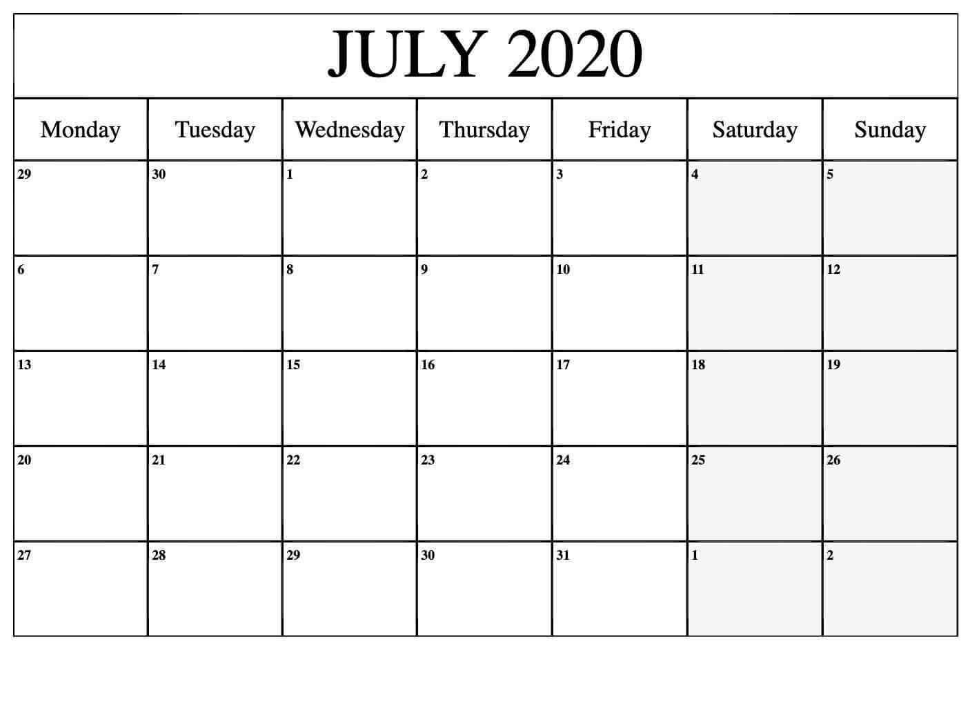 free printable july 2020 calendar printable calendar