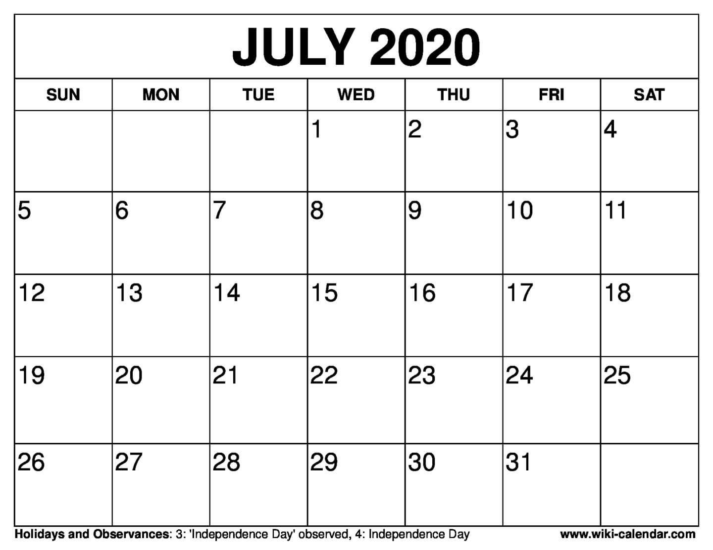 Free Printable July 2020 Calendars