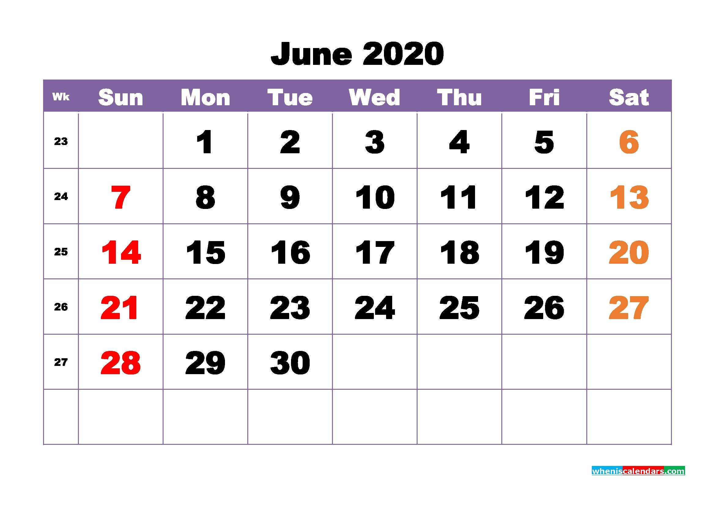free printable june 2020 calendar – no m20b390 – free