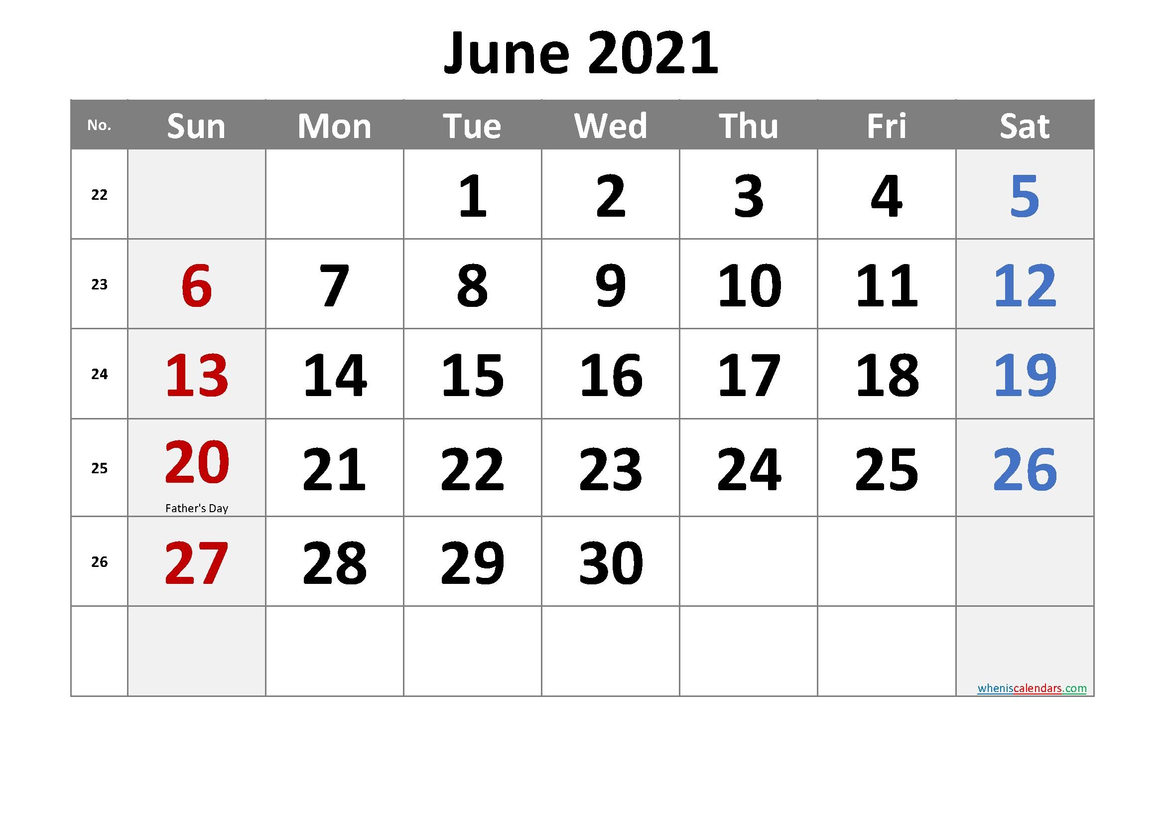 Free Printable June 2021 Calendar In 2020 | June Calendar