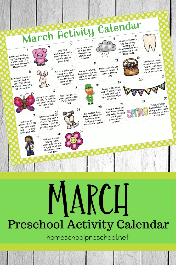 Free Printable March Activity Calendar For Preschoolers
