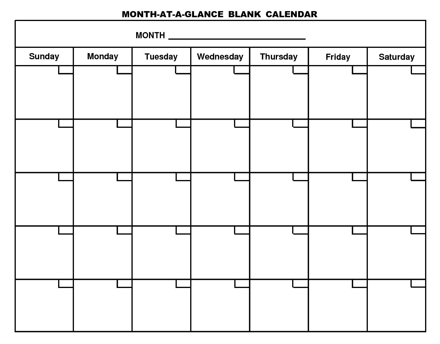 Free Printable Month At A Glance Blank Calendar (1506
